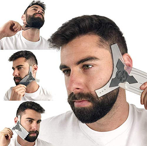 Beard Shaping Tool Guide & Bamboo Comb Grooming Kit for Men's Care | Valentines Gift Barber Pencil | Best Shaper...