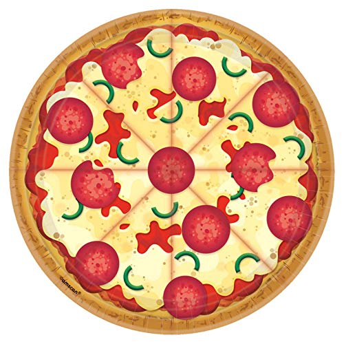 amscan Pizza Party Design Round Paper Plates-8pc, Multi-colored, One Size