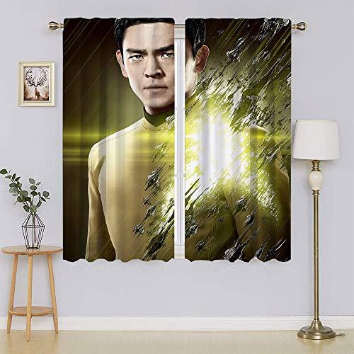 Star Trek Beyond,Teniente Hikaru Sulu Cortinas oscurecimiento de habitación, cortina de ahorro energético para sala de estar 196 cm x 1177 cm