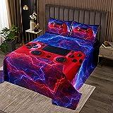 Gamer Gaming Coverlet Set para niños y adolescentes y niños hombre rojo azul relámpagos Gamepad colcha acolchada de videojuegos colcha acolchada para jugadores modernos