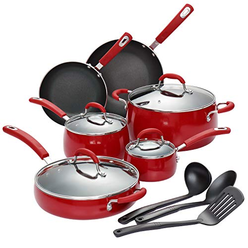 Finnhomy Hard Porcelain Enamel Aluminum Cookware Set, Ceramic Cookware Set, New Technology Double Nonstick Coating Kitchen Pots and Pan Set, 14-Piece, Red