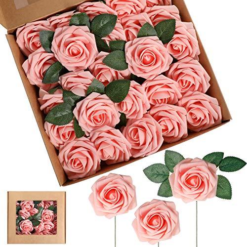 50 Stücke Künstlich Schaum Rose Blumen Vintage Gefälscht Rosen DIY Blumensträuße Boutonnieres mit Blättern und Stielen für Hochzeit Braut Shower Bankett Mittelstücke (Rosa)