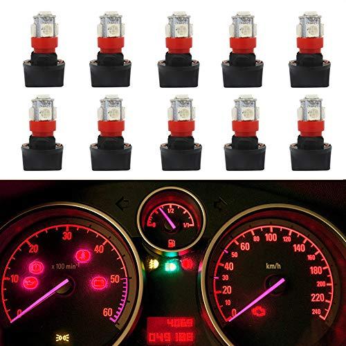 WLJH Lot de 10 ampoules LED T10 194 168 LED PC194 PC195 PC160 PC161 PC168 pour tableau de bord automobile multifonction Rouge