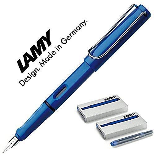 LAMY Füller SAFARI Füllhalter | Viele schöne Farben, im Set mit passendem Kolbekonverter Lamy Z24 (Mit 10 Tintenpatronen, blau)