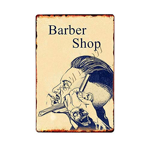 ivAZW Metal Poster Tin Sign Plaque Nostalgic-Art Shaves And Haircuts Barber Shop Vintage Men'S Hairstyle Tattoos Plaques Classic Bar Decoration 20X30Cm 6