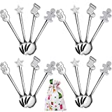 Aneco 16 Pieces Christmas Mini Spoons Set Stainless Steel Spoon for Coffee Tea Soup Sugar Dessert Seasoning Ice Cream