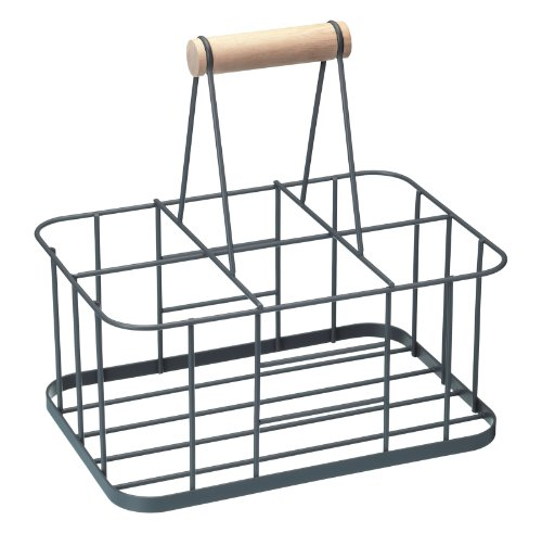 KitchenCraft Living Nostalgia Milk Bottle Holder, Wire Metal Doorstep Milk Crate, 29 x 20 x 13 cm