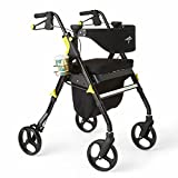 Medline Premium Empower Rollator Walker with Seat, Folding Rolling Walker with 8-inch Whee...
