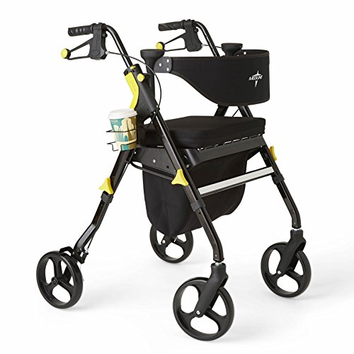 Medline Premium Empower Rollator Walker with Seat Folding Rolling Walker with 8inch Wheels Black