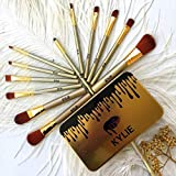 KYLIE Professional 12 Pcs Full Makeup Brush Face and Eye Cosmetic Set (Golden)