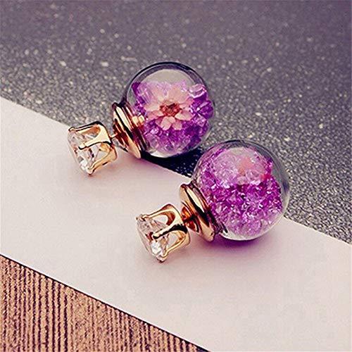 TTYJWDWY-Pendientes de Moda y Bonitos, Elegantes y exquisitas Flores de Cristal de circón para niñas, Pendientes de Bola de Cristal de Doble Cara-púrpura