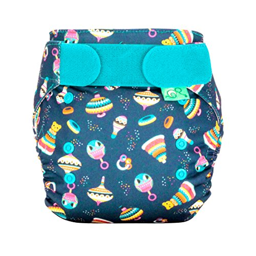 Tots Bots Easyfit Star Reusable Washable One Size All-in-One Cloth Diaper 8-35lbs (Rattle & Roll)