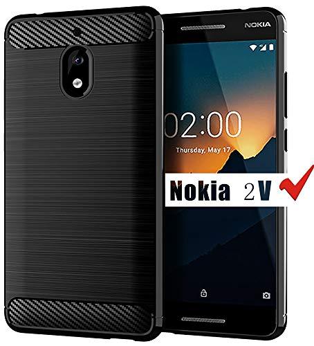 Nokia 2V Case, Nokia 2.1 Case, HNHYGETE Soft Slim Shockproof Anti-Fingerprint Full Protective Phone Cases for Motorola Nokia 2V 2.1 (Not Suitable Nokia 2 V Tella) (Black)