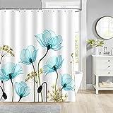 Bonhause Duschvorhang 180 x 180 cm Blau Blumen Tulpen Duschvorhänge Anti-Schimmel Wasserdicht Polyester Stoff Waschbar Bad Vorhang für Badzimmer mit 12 Duschvorhangringen