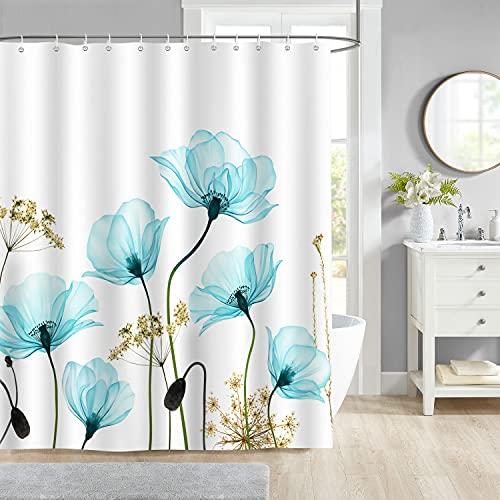 Bonhause Cortina de Ducha Patrón de Flores Azul Cortina de Baño de Poliéster Impermeable Antimoho Cortina Ducha con 12 Ganchos 180 x 180 cm
