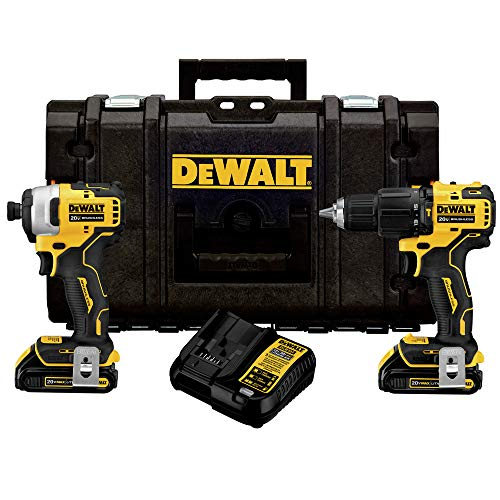 Dewalt DCKTS279C2R ATOMIC 20V MAX Brushless Lithium-Ion 1/2 in. Cordless Hammer Drill Driver/ 1/4 in. Cordless Impact Driver Combo Kit with TOUGHSYSTEM (1.5 Ah) (Renewed)