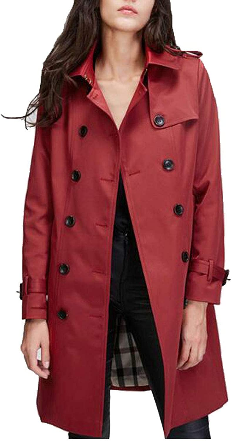 Sweatwater Women's Slim Fit Windproof Classic DoubleBreasted Belted MidLong Trench Coats