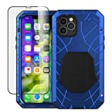 Foluu for iPhone 12 Pro Case/iPhone 12 Case, Aluminum Metal Shockproof Bumper Frame Case Soft Rubber Silicone Military Heavy Duty Hard Case for iPhone 12 Pro/iPhone 12 6.1 Inch 2020 (Blue)