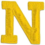 [Single Count] Custom and Unique (2' Inch) Sports Letterman Jacket Alphabet Letter N Regular Bold Plain Solid Block Font Monogram Initial Design Iron On Embroidered Applique Patch {Yellow Color}