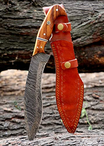 Custom Handmade Damascus Steel Kukri Knife with Leather Sheath Hunting camping outdoor 12.00 Inches VK3068
