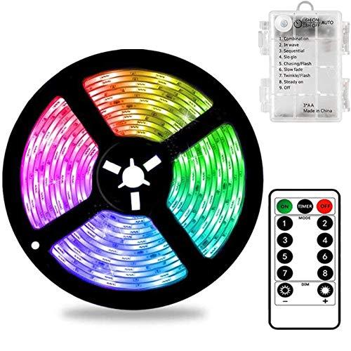 Bandes de LED à Piles 3 Mètres 90 LED Strip Lights avec Télécommande, Minuterie, 8 Modes, Dimmable, Auto-adhésif pour TV Cuisine Placard Chambre Décor à la Maison (3M/90L Couleur)