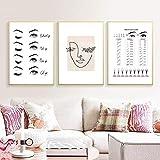 HNZKly Moderno Moda Pestaña Extensiones Póster Impresiones Maquillaje Pared Arte Vogue Lienzo Pinturas Belleza Salón Decoracion Chicas Regalo Moda Habitación Decoracion 16x24inchx3 / Sin Marco G73