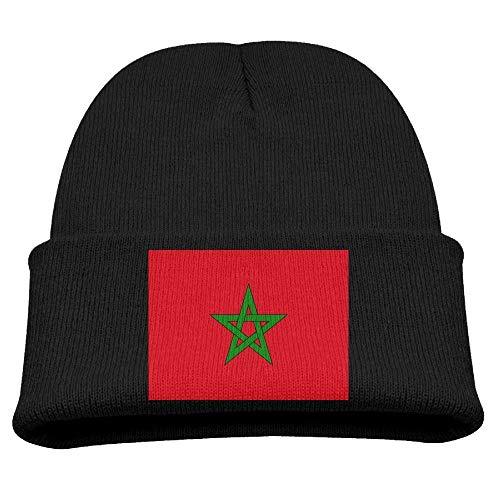 DearLord Marokkanische Flagge, Kindermütze, Winter, lustig, weich, Strickmütze, Kinder, Unisex, Schwarz