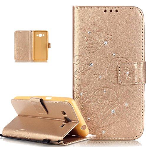 Kompatibel mit Galaxy Grand Prime Hülle,Strass Glänzend Prägung Blumen Reben Schmetterling PU Lederhülle Handyhülle Taschen Flip Wallet Ständer Etui Schutzhülle für Galaxy Grand Prime G530,Golden