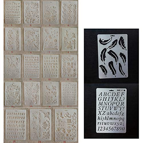 JUSTDOLIFE Stencil di Pittura 21PCS Modelli di Miscelazione Trasparente Fai da Te Modello di Disegno Artigianale