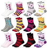 MC.TAM® Calcetines de Colores Medias Para Niñas 12 Pares 90% Algodón Oeko Tex® Standard 100, 31-34, 12 pares de medias para niñas
