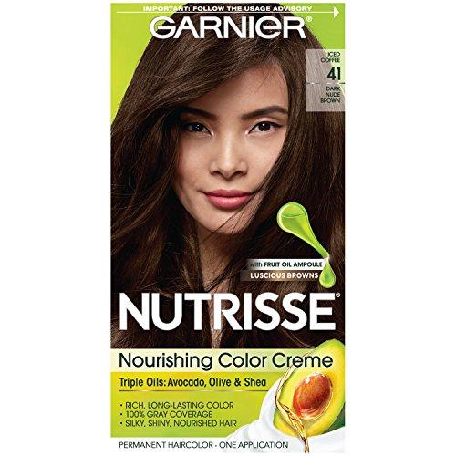 Garnier Nutrisse Nourishing Hair Color Creme, 41 Dark Nude Brown (Packaging May Vary)