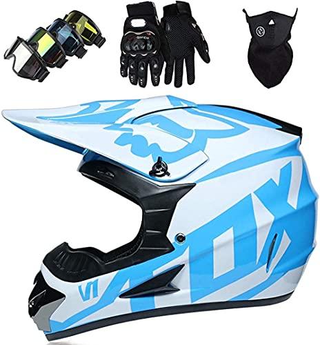 Conjunto de auriculares de motocross para niños - Casco de ciclismo de montaña de cara completa con máscara de guantes de vidrio de motocross para adulto joven con diseño de zorro azul blanco-METRO