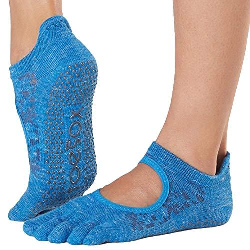 Toesox Grip - Calcetines antideslizantes para yoga y ballet para mujer, Mujer, Calcetines, YTOEWTBELLARINALAP-S, Azul (Lapis)., S