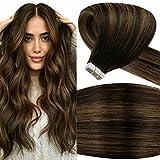 LaaVoo 22 Pulgadas/55cm 100% Remy Glue in Extensiones de Pelo Natural Adhesivas #2/8/2 Balayage Ombre Darkest Brown Fading to Light Brown Skin Weft Tape on Hair Extensions 100Gramos/40Piezas