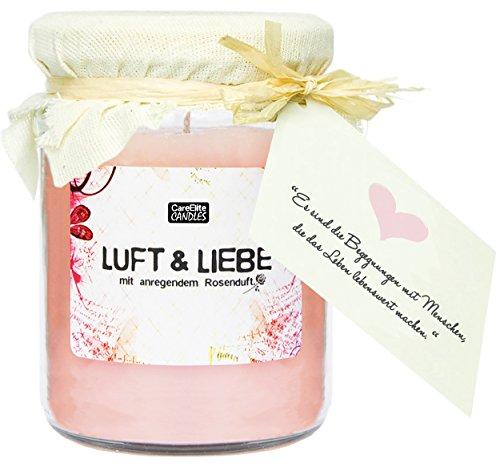 """Grande candela profumata """"Luft & Liebe"""" in vetro come set regalo  cera rosa della candela con profumo romantico alla rosa  portacandela in vetro con coperchio  grande candela profumata in barattolo di vetro come regalo di natale per le donne"""