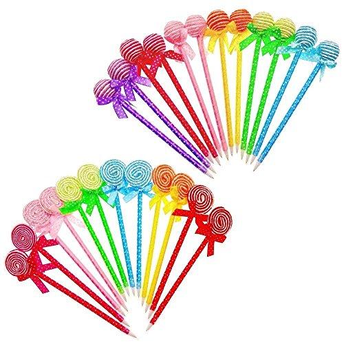 JZK 24 Bolígrafos divertidos forma lollipops estudiante