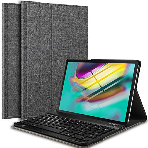 IVSO Keyboard Case for Samsung Galaxy Tab S5e T720/T725 10.5 (QWERTY), Slim PU Case with Detachable Wireless Keyboard for Samsung Galaxy Tab S5e 10.5 T720/T725 2019, Gray