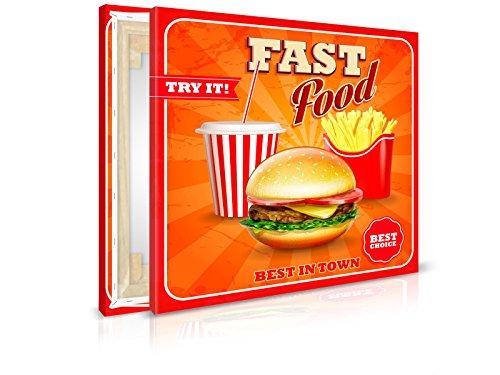 XXL-Tapeten Leinwandbild Just Fast Food - Fertig Aufgespannt - Gemälde, Kunstdruck, Wandbild, Keilrahmen, Bild auf Leinwand von Trendwände - Format: 40x40cm, Standard: Polyester-Leinwand 2cm Rahmen