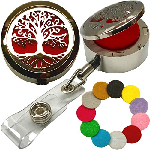 Custom One-Piece Aromatherapy Essential Oils Stainless Steel Diffuser with Elegant Locket-Style Lid Retractable Heavy Duty Belt Clip ID Badge Holder ST Tree of Life