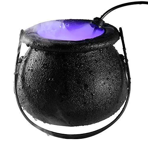N /C Halloween Witch Cauldron Fog Maker 12 LED Lights, Halloween Party Mist Maker, Water Fountain Fog Machine, Halloween Indoor/Outdoor Decoration Lights (Black, US Plug-ABS)