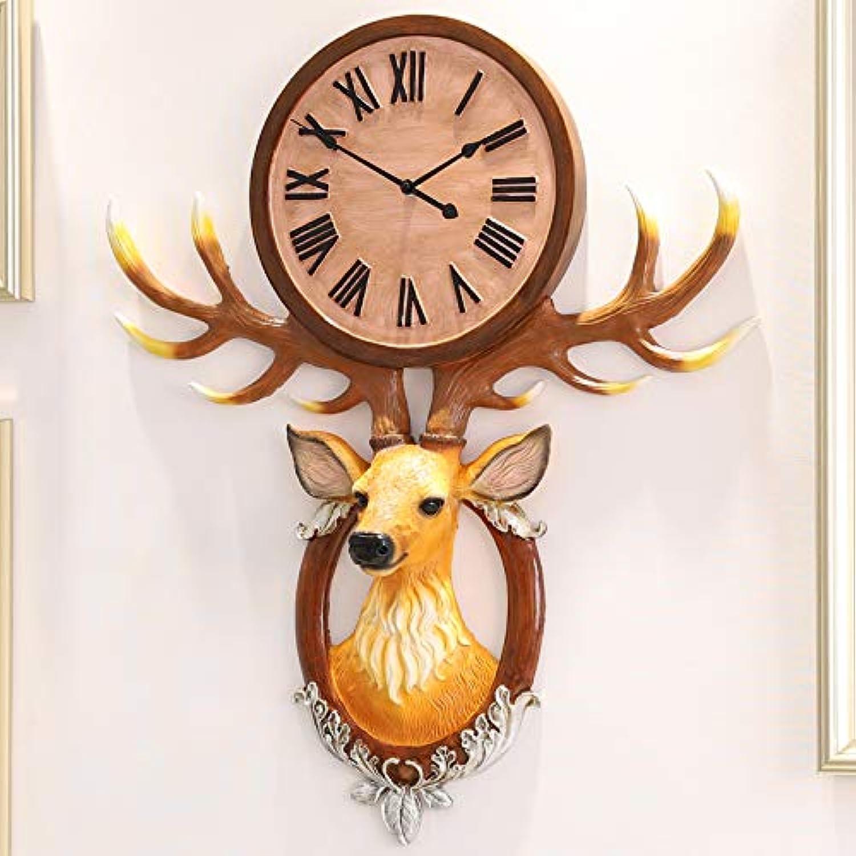 Wall Clock Deer Head Decorative Wall Clock Living Room Hanging Table Mute Clock Atmospheric Art Clock (color   A)