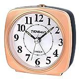 PROKING Reloj Despertador Analógico, Despertador de Viaje sin Tic TAC con Snooze/luz Nocturna Despertador Analógico Silencioso, Despertador de Dormitorio (Oro)