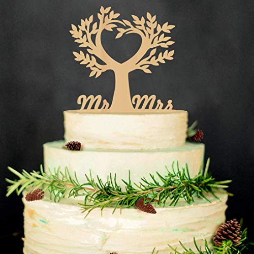 Mr and Mrs Cake Toppers Bride and Groom Rustic Wood Tree Wedding Aniversary Party Engagement Decoration