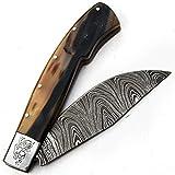 Cuchillos de Damasco - Cuchillo hecho a mano de acero de Damasco con vaina - Patrón de Damasco esgrimido - Manipulación de superficie - Patrón grabado - Antióxido - Cuchillo hoja desbloqueada 9696