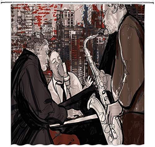 MMPTn Kunst Duschvorhänge Musik Spielen Klavier Saxophon Stadt Jazz Retro Schwarz Braun Bad Vorhang Dekoration wasserdicht 71x71 Zoll wasserdichtes Gewebe beinhaltet zwölf Kunststoffhaken