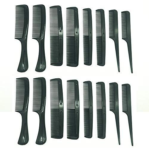 Glamorize Conjunto de peine de peluquería profesional [16 piezas] [negro]