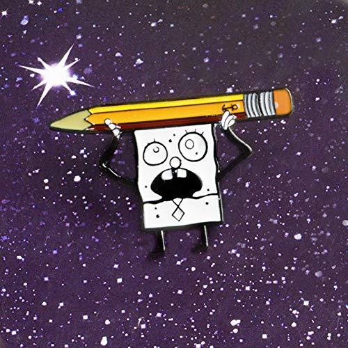 JTXZD broche zwart en wit donker beperkingen schedel Bob schetsen potlood emaille reversspeld broches voor accessoires