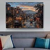 yunxiao Wall Art Cuadro en Lienzo Cuadros de Paisaje Arte Ciudad Noche Carteles Impresiones artísticas para decoración de Sala de Estar decoración del hogar Cuadro de Arte de Pared Decoración 50x70cm