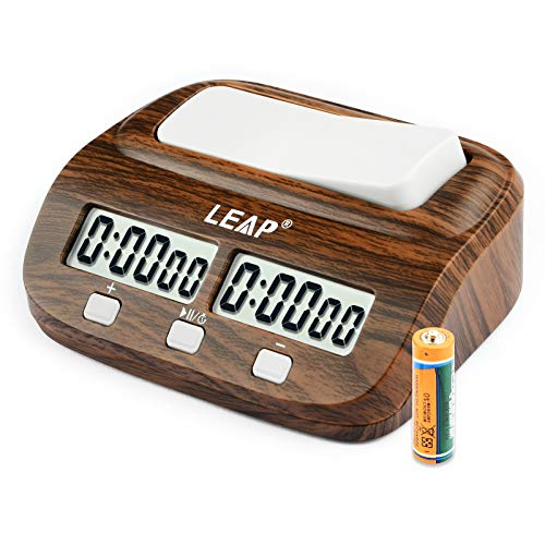 LEAP Chess Clock Digital Chess Timer Professional for Board Games Timer with Alarm Function (Official Store) Wood Appearance