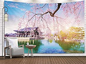 Bisead Bohemian Tapestry, Map Art Tapestry 80X60 Inchs Palace Cherry Blossom Tree in Spring Time Seoul City Korea South Wall Hanging Gifts for Bedroom Dorm Décor,Black Orange